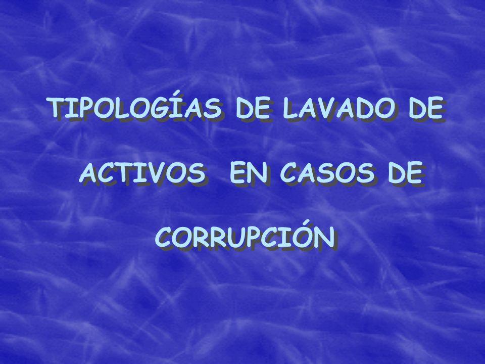 TIPOLOGÍAS DE LAVADO DE ACTIVOS EN CASOS DE CORRUPCIÓN TIPOLOGÍAS DE LAVADO DE ACTIVOS EN CASOS DE CORRUPCIÓN