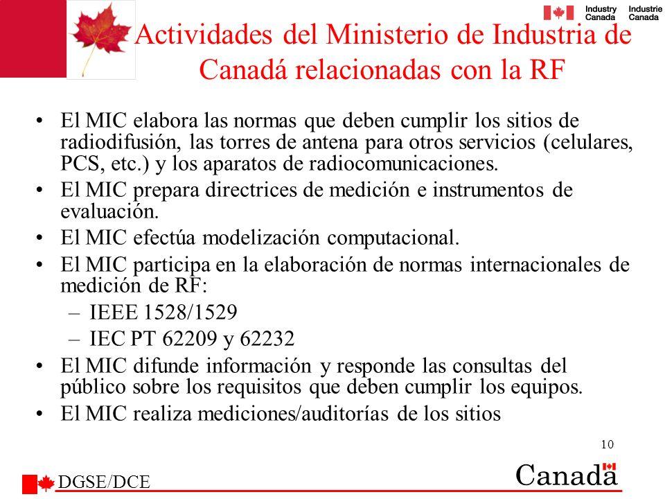 10 Actividades del Ministerio de Industria de Canadá relacionadas con la RF El MIC elabora las normas que deben cumplir los sitios de radiodifusión, l