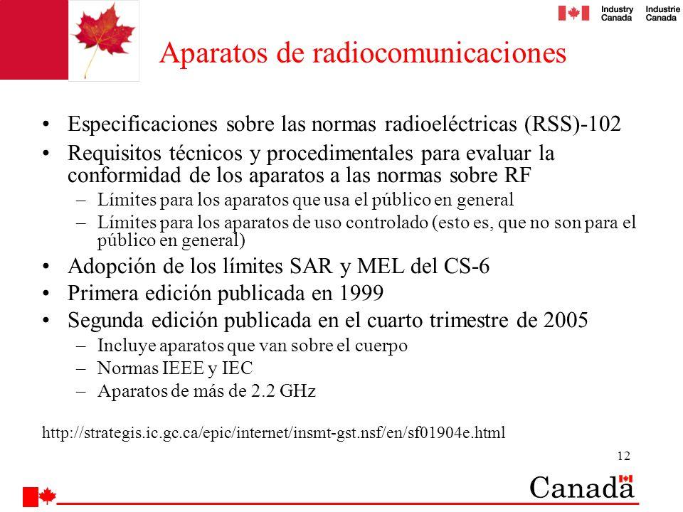 12 Aparatos de radiocomunicaciones Especificaciones sobre las normas radioeléctricas (RSS)-102 Requisitos técnicos y procedimentales para evaluar la c