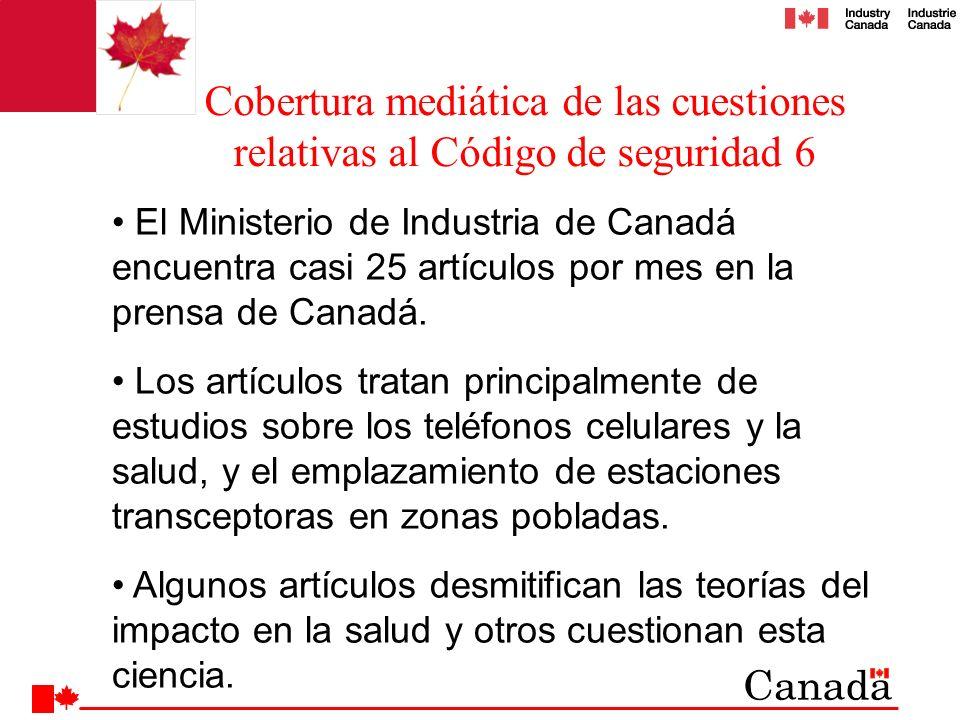 El Ministerio de Industria de Canadá encuentra casi 25 artículos por mes en la prensa de Canadá. Los artículos tratan principalmente de estudios sobre