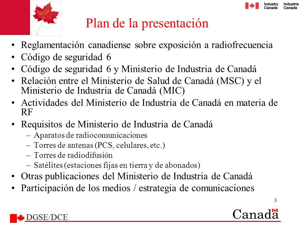 3 Plan de la presentación Reglamentación canadiense sobre exposición a radiofrecuencia Código de seguridad 6 Código de seguridad 6 y Ministerio de Ind