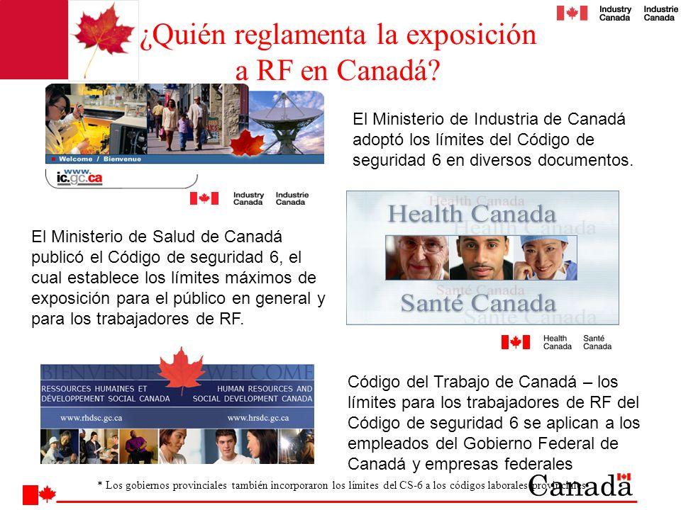 El Ministerio de Industria de Canadá adoptó los límites del Código de seguridad 6 en diversos documentos. El Ministerio de Salud de Canadá publicó el