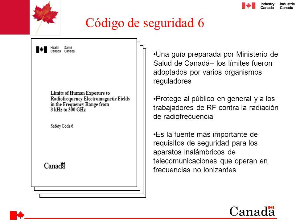 Una guía preparada por Ministerio de Salud de Canadá– los límites fueron adoptados por varios organismos reguladores Protege al público en general y a