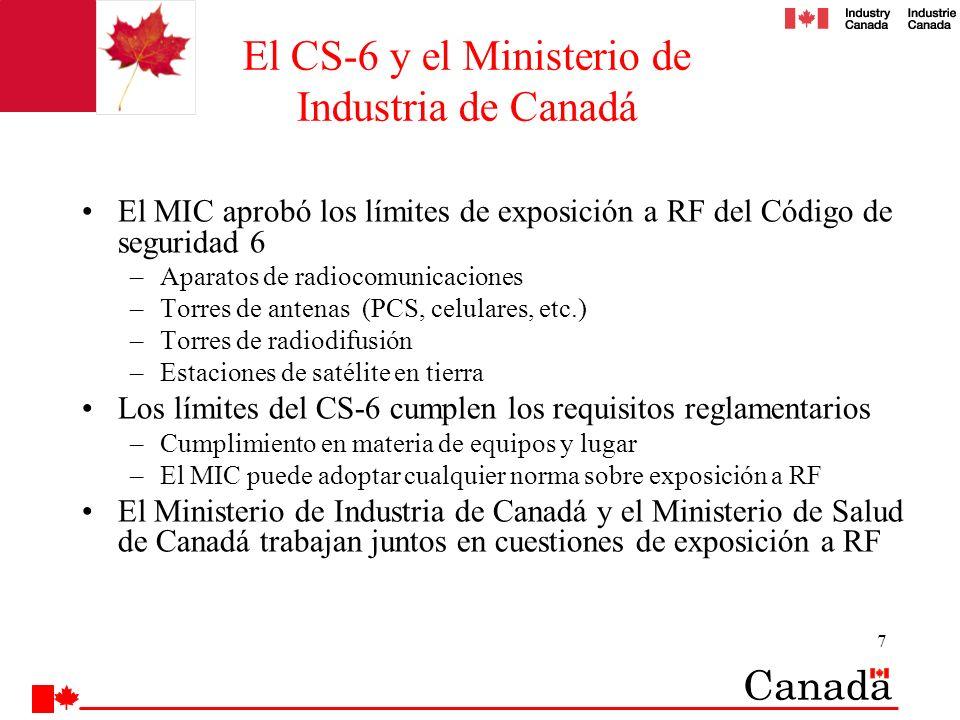 8 Relación entre el Ministerio de Industria de Canadá y el Ministerio de Salud de Canadá El Ministerio de Industria de Canadá y el Ministerio de Salud de Canadá tienen una relación de trabajo de larga data: –El Ministerio de Industria de Canadá participó en la elaboración del CS-6 –Un Memorando de Entendimiento (MdE) sobre la exposición a RF rige desde1988 La revisión más reciente se hizo en 2003.