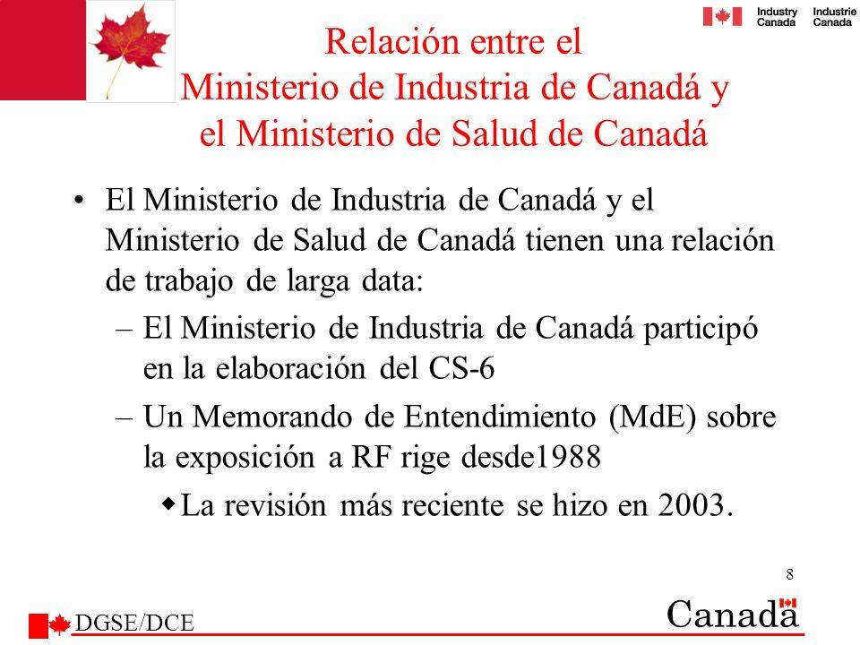 9 MdE - MIC y MSC El MdE establece los roles y responsabilidades de: El Ministerio de Industria de Canadá El Ministerio de Salud de Canadá Ambos ministerios (roles conjuntos) El Ministerio de Salud de Canadá informa al Ministerio de Industria de Canadá en su condición de autoridad principal en cuestiones relacionadas con la salud El Ministerio de Industria de Canadá reglamenta los requisitos técnicos que deben cumplir los equipos –No las cuestiones relacionadas con la salud DGSE/DCE