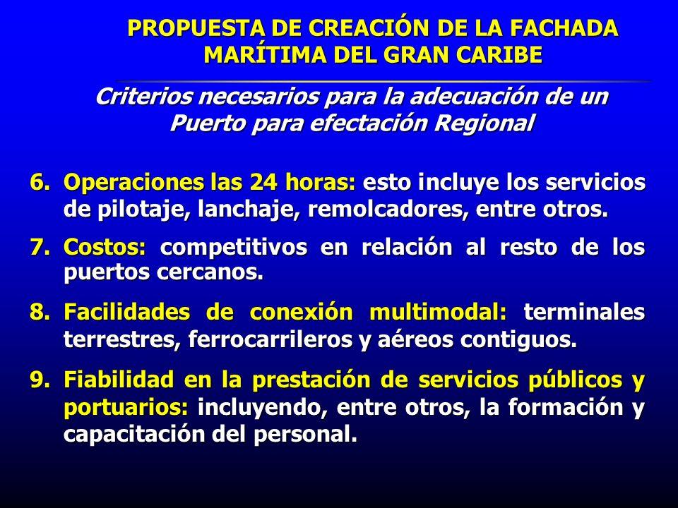 PROPUESTA DE CREACIÓN DE LA FACHADA MARÍTIMA DEL GRAN CARIBE 6.Operaciones las 24 horas: esto incluye los servicios de pilotaje, lanchaje, remolcadore