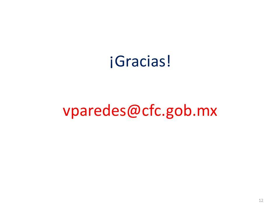 ¡Gracias! vparedes@cfc.gob.mx 12