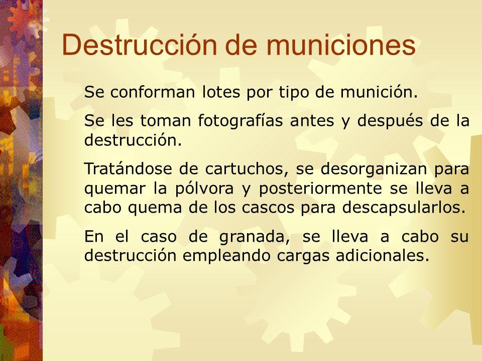 Destrucción de municiones Se conforman lotes por tipo de munición. Se les toman fotografías antes y después de la destrucción. Tratándose de cartuchos