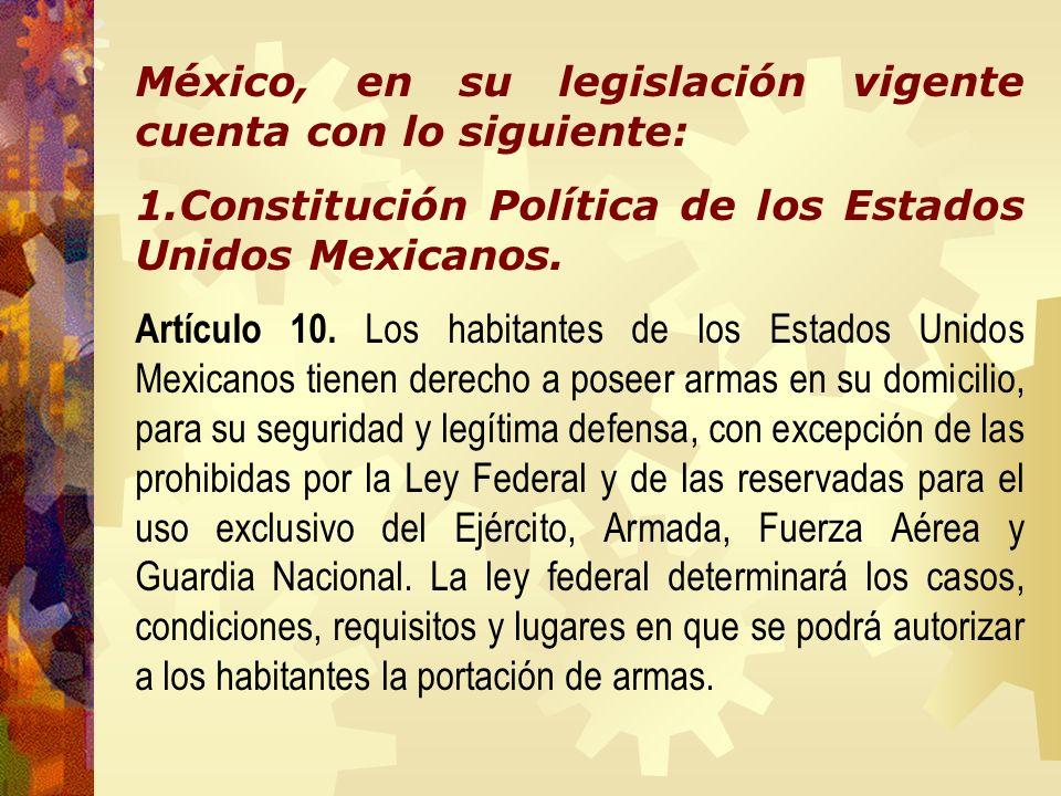 México, en su legislación vigente cuenta con lo siguiente: 1.Constitución Política de los Estados Unidos Mexicanos. Artículo 10. Los habitantes de los
