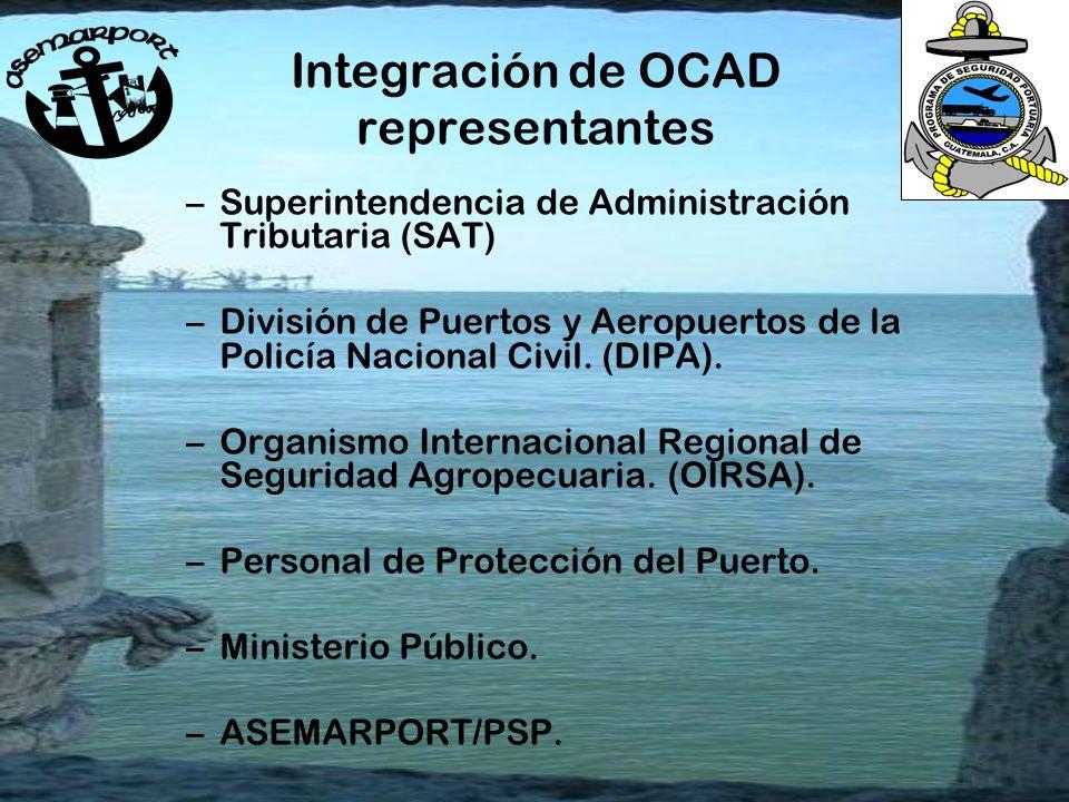 Integración de OCAD representantes –Superintendencia de Administración Tributaria (SAT) –División de Puertos y Aeropuertos de la Policía Nacional Civil.