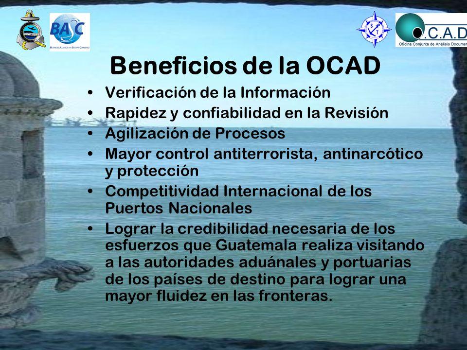 Beneficios de la OCAD Verificación de la Información Rapidez y confiabilidad en la Revisión Agilización de Procesos Mayor control antiterrorista, anti