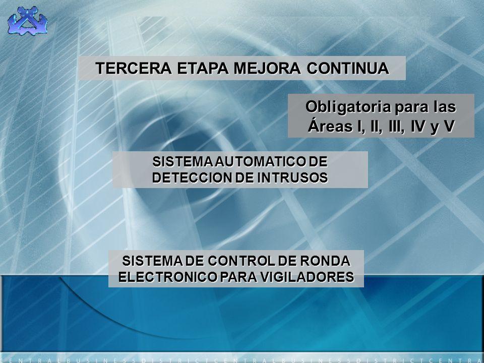 TERCERA ETAPA MEJORA CONTINUA SISTEMA AUTOMATICO DE DETECCION DE INTRUSOS SISTEMA DE CONTROL DE RONDA ELECTRONICO PARA VIGILADORES Obligatoria para la