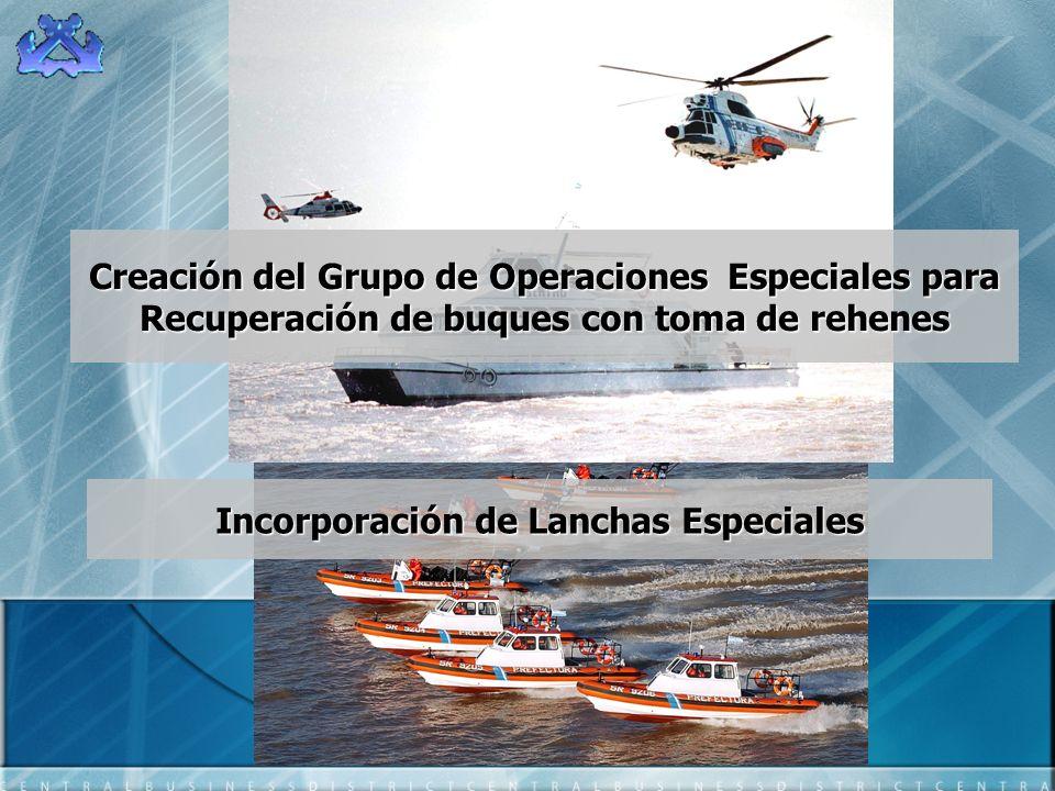 Creación del Grupo de Operaciones Especiales para Recuperación de buques con toma de rehenes Incorporación de Lanchas Especiales