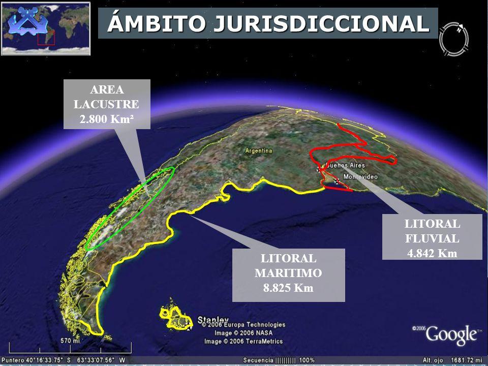LITORAL MARITIMO 8.825 Km AREA LACUSTRE 2.800 Km² LITORAL FLUVIAL 4.842 Km ÁMBITO JURISDICCIONAL