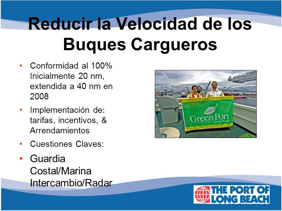Reducir la Velocidad de los Buques Cargueros Conformidad al 100% Inicialmente 20 nm, extendida a 40 nm en 2008 Implementación de: tarifas, incentivos,