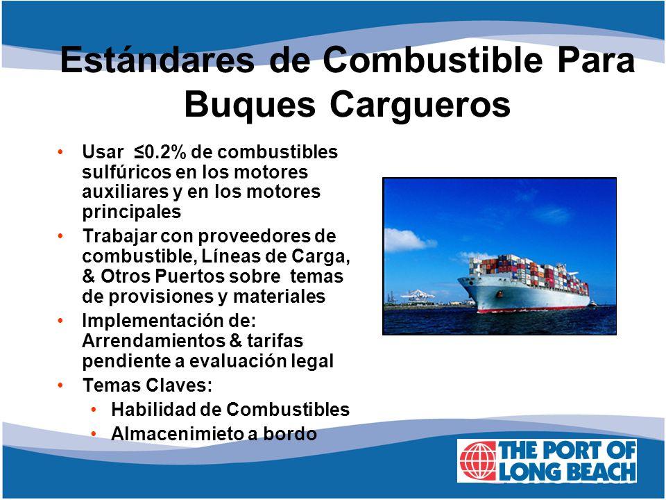Usar 0.2% de combustibles sulfúricos en los motores auxiliares y en los motores principales Trabajar con proveedores de combustible, Líneas de Carga,
