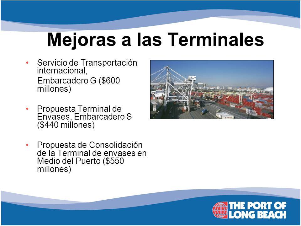 Mejoras a las Terminales Servicio de Transportación internacional, Embarcadero G ($600 millones) Propuesta Terminal de Envases, Embarcadero S ($440 mi