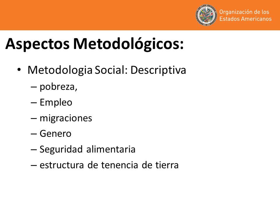 Aspectos Metodológicos: Metodologia Social: Descriptiva – pobreza, – Empleo – migraciones – Genero – Seguridad alimentaria – estructura de tenencia de tierra