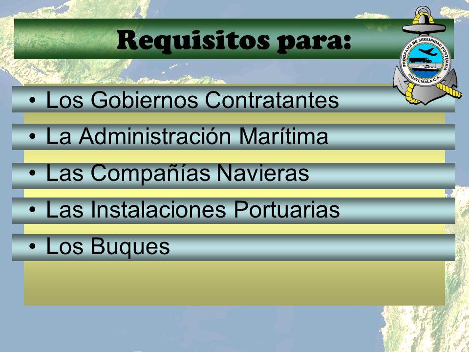 Requisitos para: Los Gobiernos Contratantes La Administración Marítima Las Compañías Navieras Las Instalaciones Portuarias Los Buques