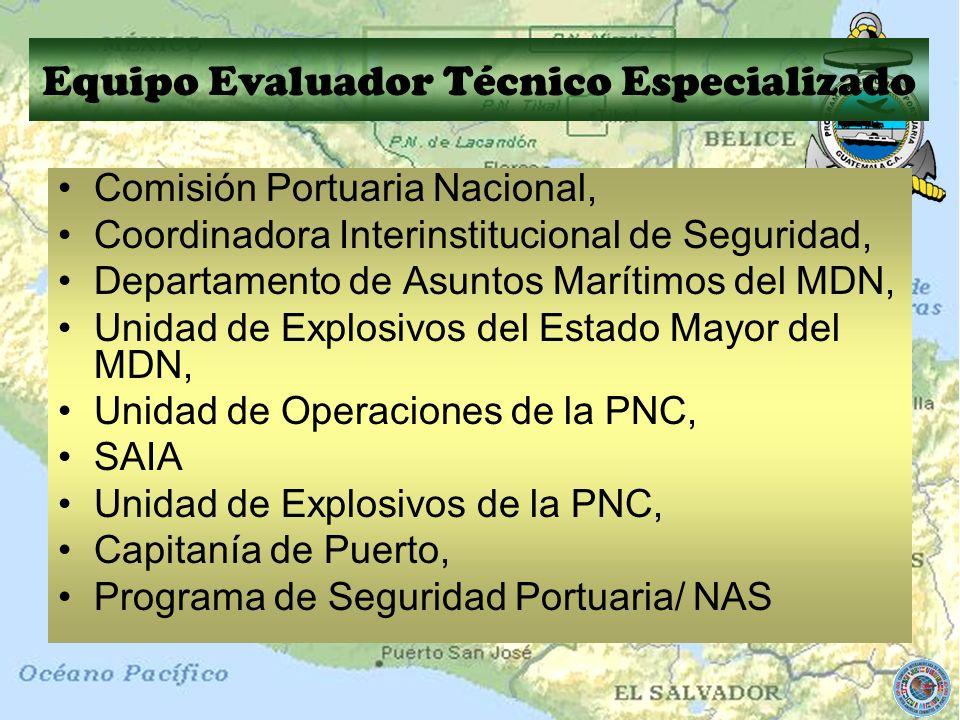Comisión Portuaria Nacional, Coordinadora Interinstitucional de Seguridad, Departamento de Asuntos Marítimos del MDN, Unidad de Explosivos del Estado