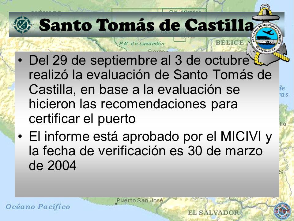 Santo Tomás de Castilla Del 29 de septiembre al 3 de octubre se realizó la evaluación de Santo Tomás de Castilla, en base a la evaluación se hicieron