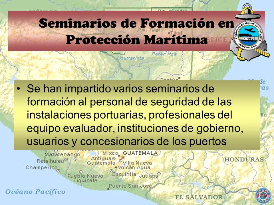 Se han impartido varios seminarios de formación al personal de seguridad de las instalaciones portuarias, profesionales del equipo evaluador, instituc