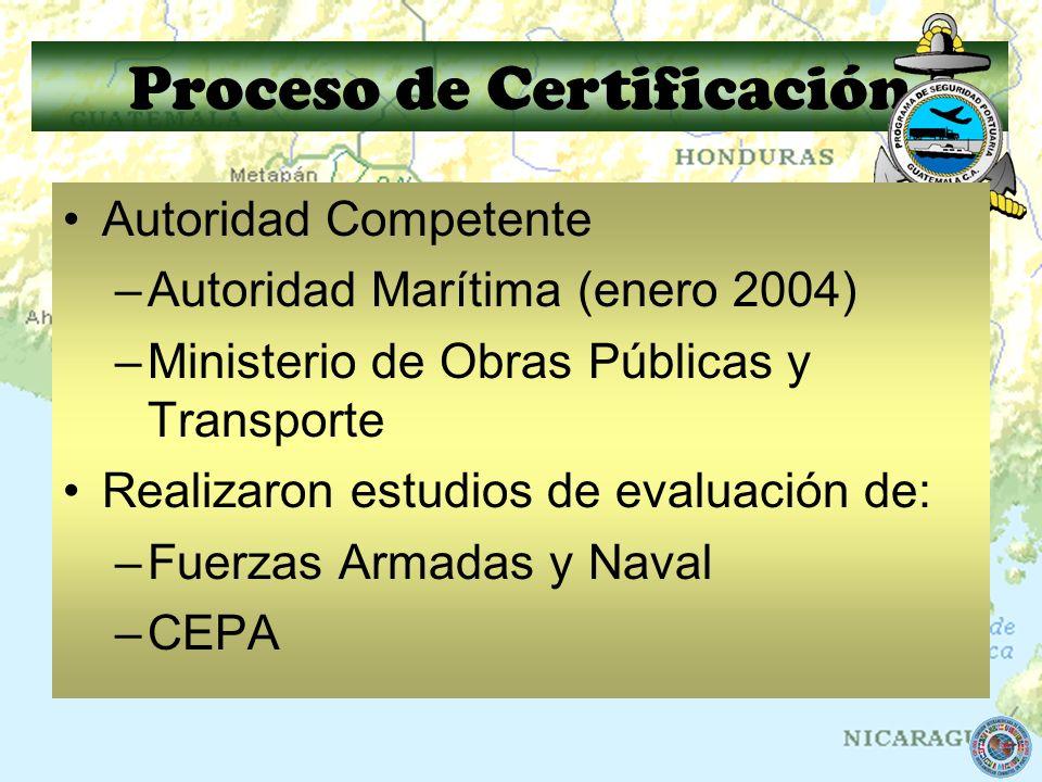 Proceso de Certificación Autoridad Competente –Autoridad Marítima (enero 2004) –Ministerio de Obras Públicas y Transporte Realizaron estudios de evalu