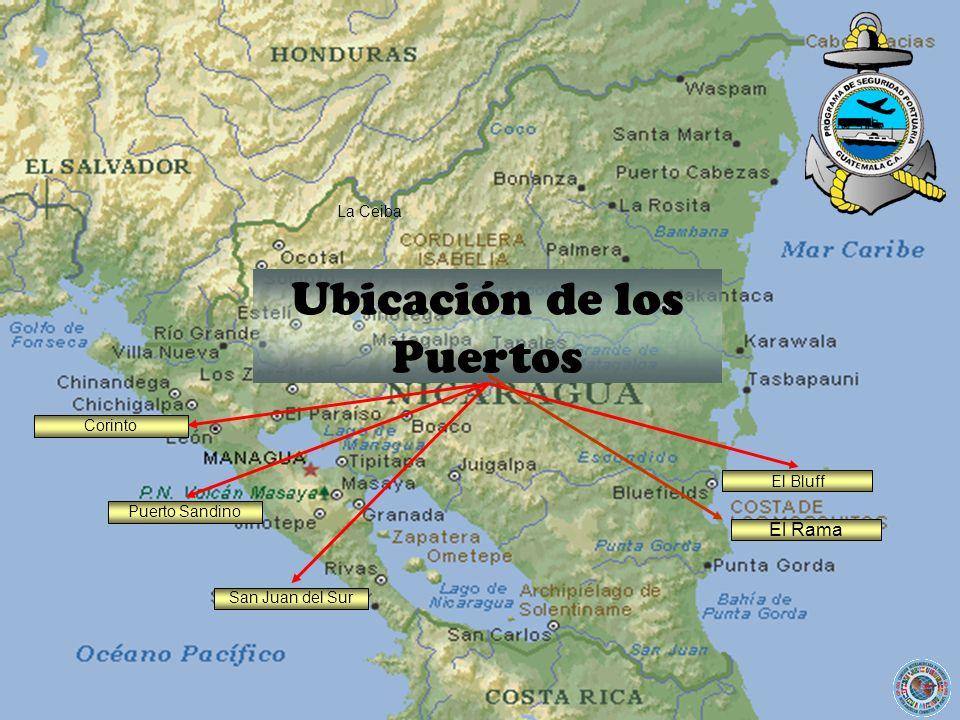 San Juan del Sur Ubicación de los Puertos El Bluff El Rama La Ceiba Puerto Sandino Corinto