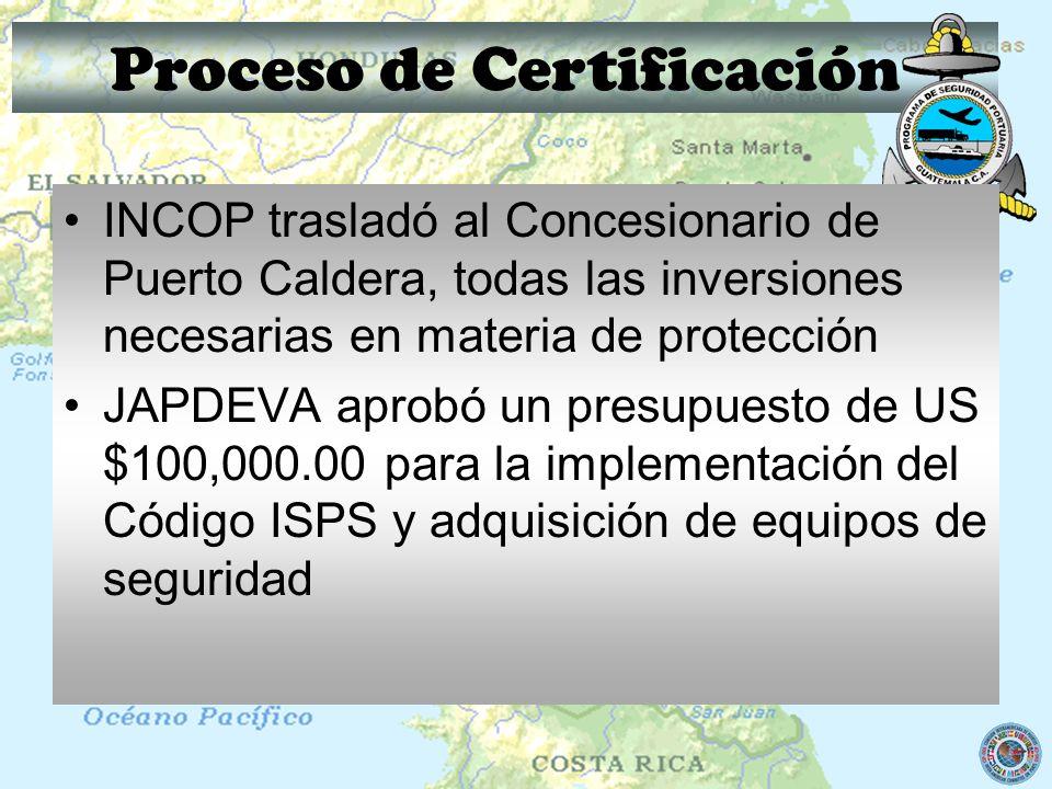 Proceso de Certificación INCOP trasladó al Concesionario de Puerto Caldera, todas las inversiones necesarias en materia de protección JAPDEVA aprobó u