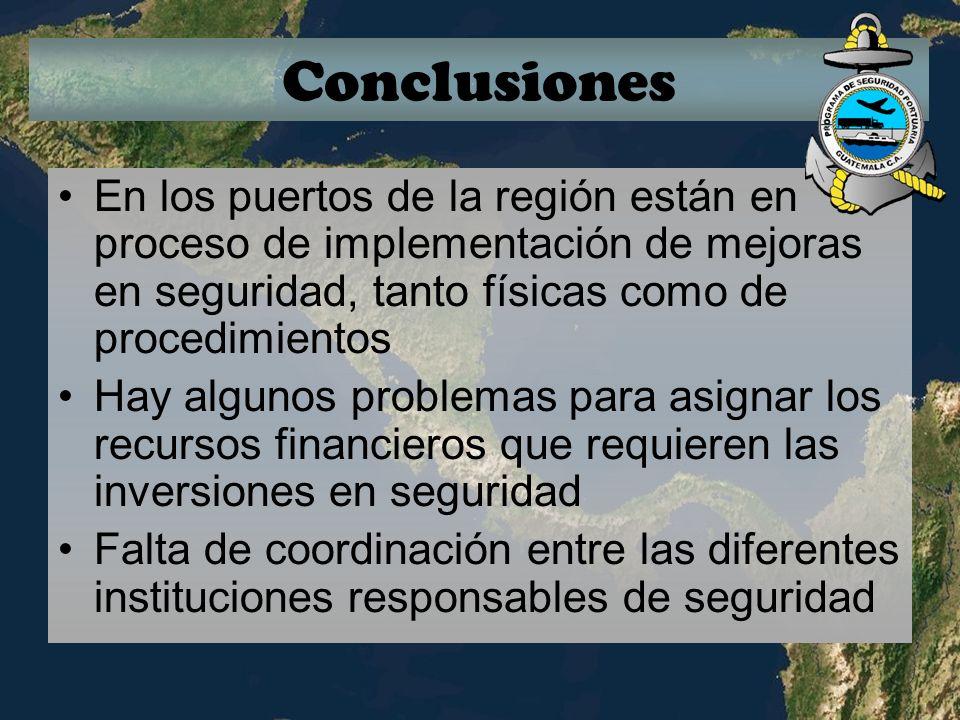 Conclusiones En los puertos de la región están en proceso de implementación de mejoras en seguridad, tanto físicas como de procedimientos Hay algunos
