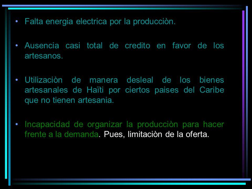 Falta energia electrica por la producciòn. Ausencia casi total de credito en favor de los artesanos. Utilizaciòn de manera desleal de los bienes artes