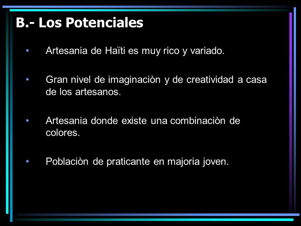 B.- Los Potenciales Artesania de Haïti es muy rico y variado.
