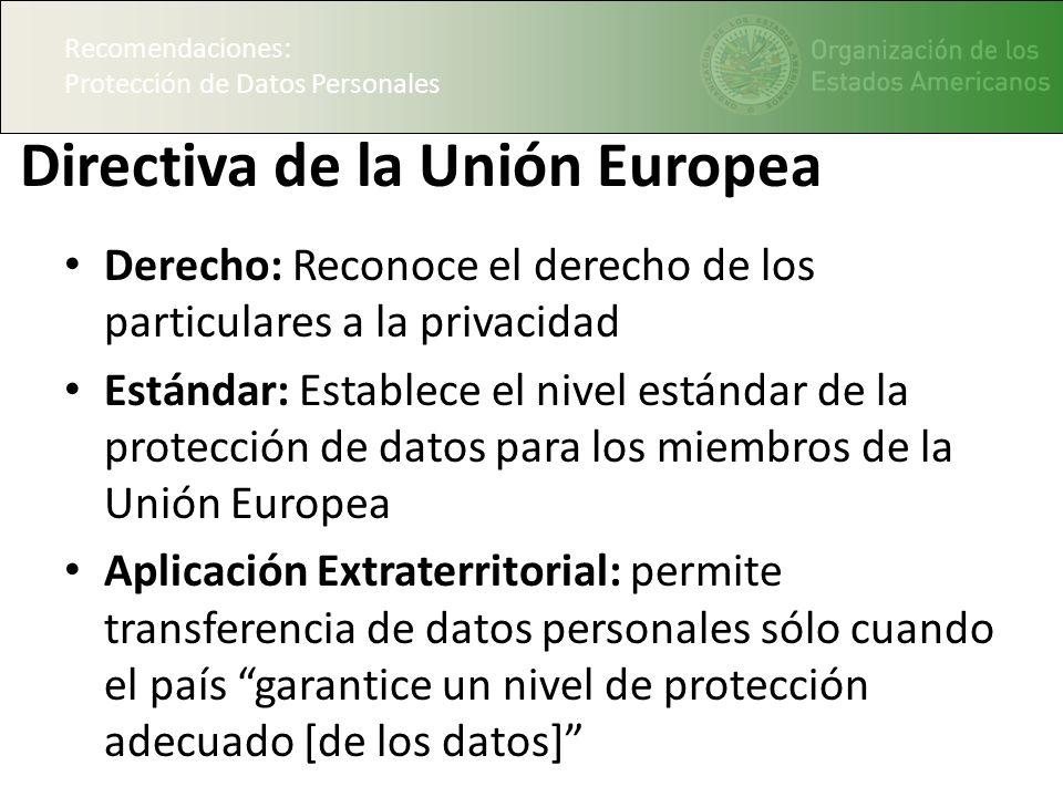 Recomendaciones: Protección de Datos Personales Directiva de la Unión Europea Derecho: Reconoce el derecho de los particulares a la privacidad Estánda