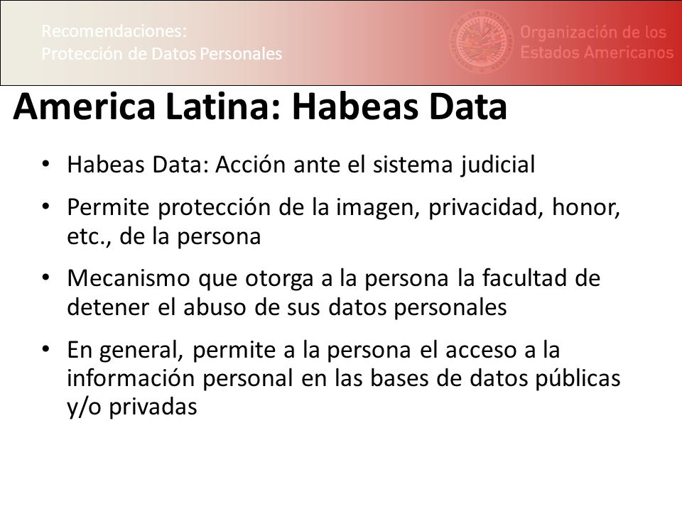 Recomendaciones: Protección de Datos Personales America Latina: Habeas Data Habeas Data: Acción ante el sistema judicial Permite protección de la imagen, privacidad, honor, etc., de la persona Mecanismo que otorga a la persona la facultad de detener el abuso de sus datos personales En general, permite a la persona el acceso a la información personal en las bases de datos públicas y/o privadas Recomendaciones: Protección de Datos Personales