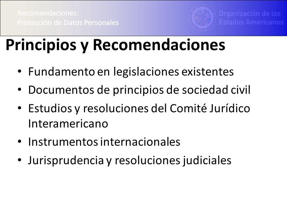 Recomendaciones: Protección de Datos Personales Principios y Recomendaciones Fundamento en legislaciones existentes Documentos de principios de sociedad civil Estudios y resoluciones del Comité Jurídico Interamericano Instrumentos internacionales Jurisprudencia y resoluciones judiciales Recomendaciones: Protección de Datos Personales