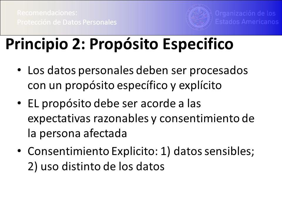 Recomendaciones: Protección de Datos Personales Principio 2: Propósito Especifico Los datos personales deben ser procesados con un propósito específico y explícito EL propósito debe ser acorde a las expectativas razonables y consentimiento de la persona afectada Consentimiento Explicito: 1) datos sensibles; 2) uso distinto de los datos Recomendaciones: Protección de Datos Personales