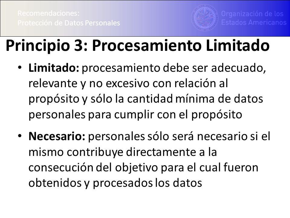 Recomendaciones: Protección de Datos Personales Principio 3: Procesamiento Limitado Limitado: procesamiento debe ser adecuado, relevante y no excesivo