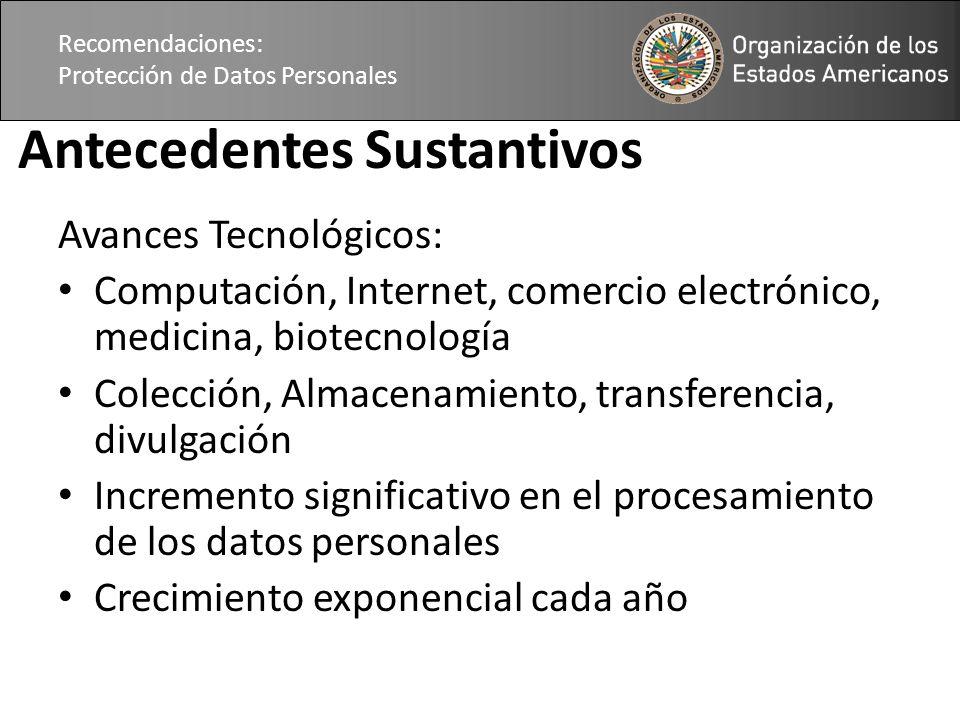 Recomendaciones: Protección de Datos Personales Antecedentes Sustantivos Avances Tecnológicos: Computación, Internet, comercio electrónico, medicina,