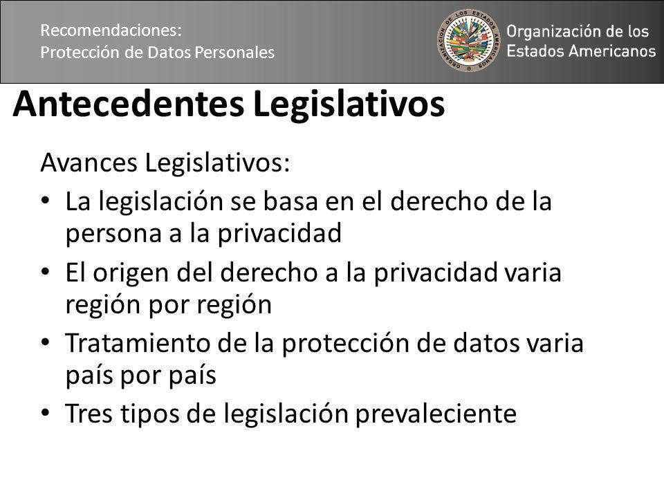 Recomendaciones: Protección de Datos Personales Antecedentes Legislativos Avances Legislativos: La legislación se basa en el derecho de la persona a la privacidad El origen del derecho a la privacidad varia región por región Tratamiento de la protección de datos varia país por país Tres tipos de legislación prevaleciente