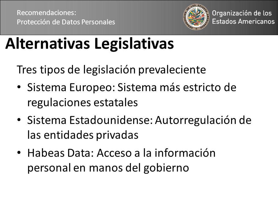 Recomendaciones: Protección de Datos Personales Alternativas Legislativas Tres tipos de legislación prevaleciente Sistema Europeo: Sistema más estrict