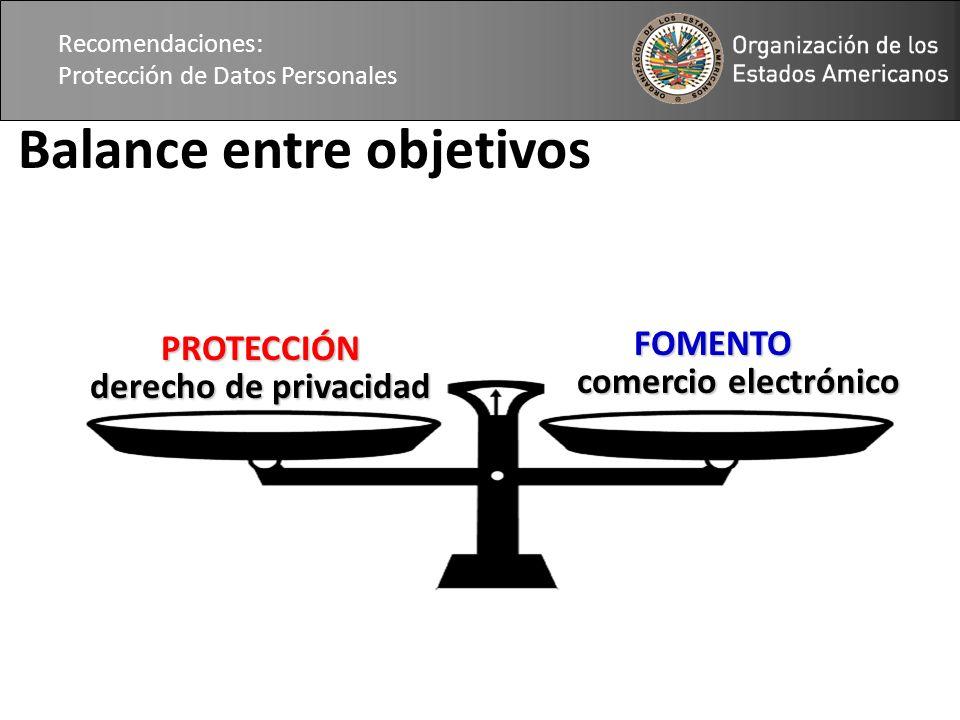 Recomendaciones: Protección de Datos Personales Balance entre objetivos PROTECCIÓN derecho de privacidad FOMENTO FOMENTO comercio electrónico
