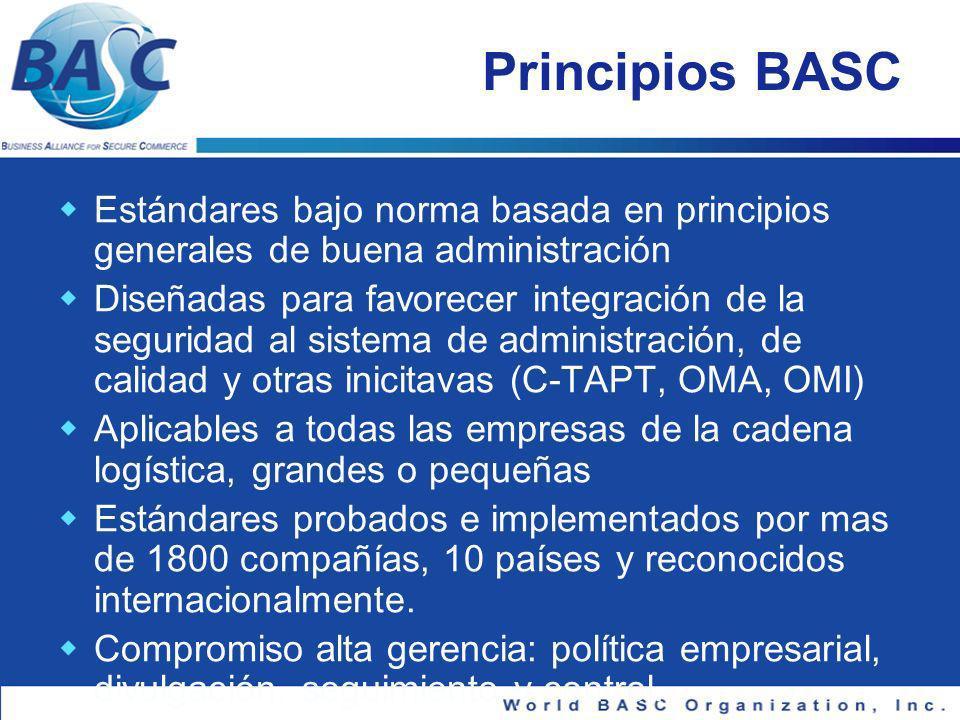 Cooperación OMA y Organización Mundial BASC Objetivo: promover el establecimiento del Marco se Estándares de Seguridad de la OMA y contribuir a la dignificacion y seguridad del Comercio global.