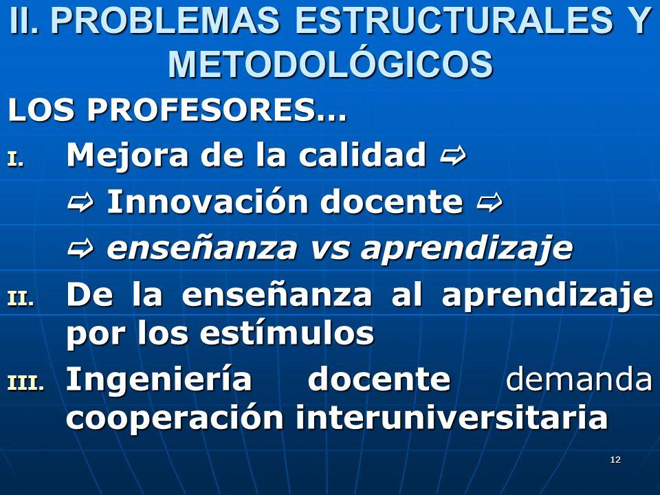 12 II. PROBLEMAS ESTRUCTURALES Y METODOLÓGICOS LOS PROFESORES… I. Mejora de la calidad I. Mejora de la calidad Innovación docente Innovación docente e