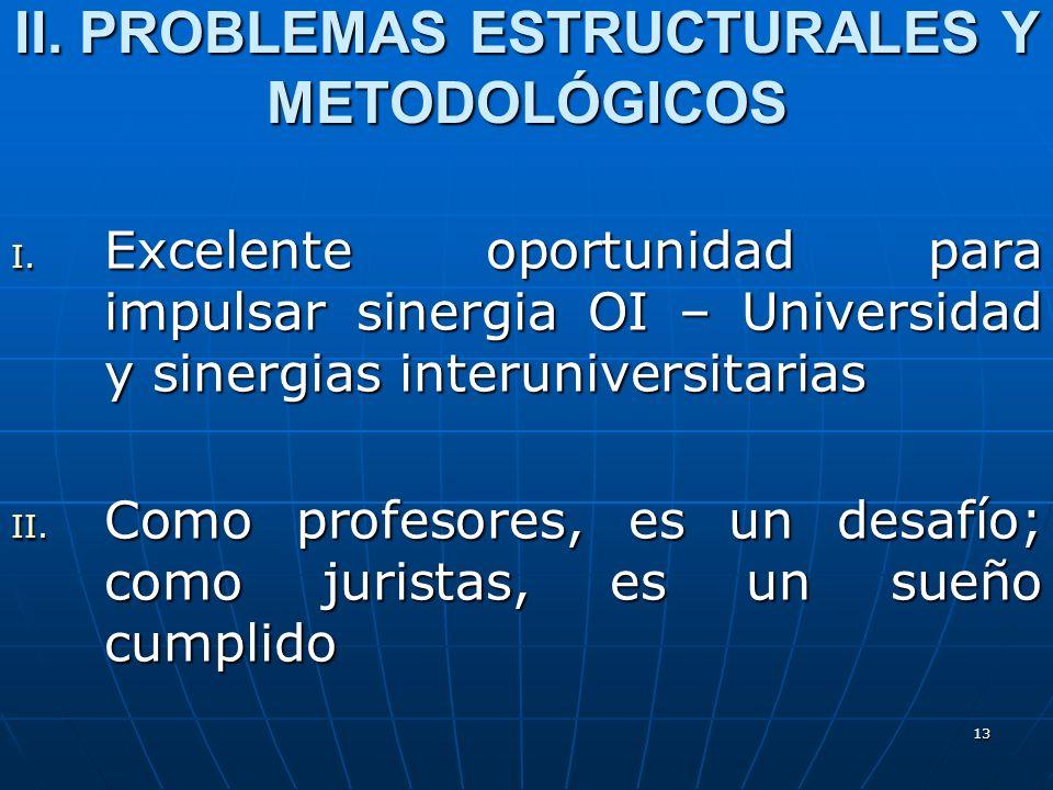 13 II. PROBLEMAS ESTRUCTURALES Y METODOLÓGICOS I. Excelente oportunidad para impulsar sinergia OI – Universidad y sinergias interuniversitarias II. Co