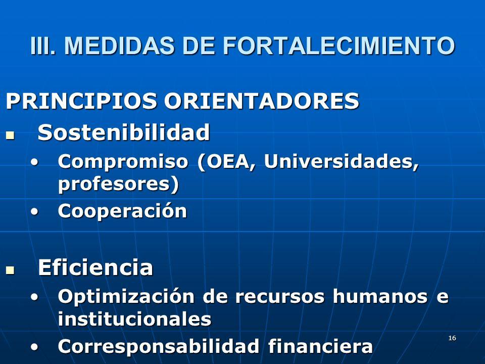 16 III. MEDIDAS DE FORTALECIMIENTO PRINCIPIOS ORIENTADORES Sostenibilidad Sostenibilidad Compromiso (OEA, Universidades, profesores)Compromiso (OEA, U