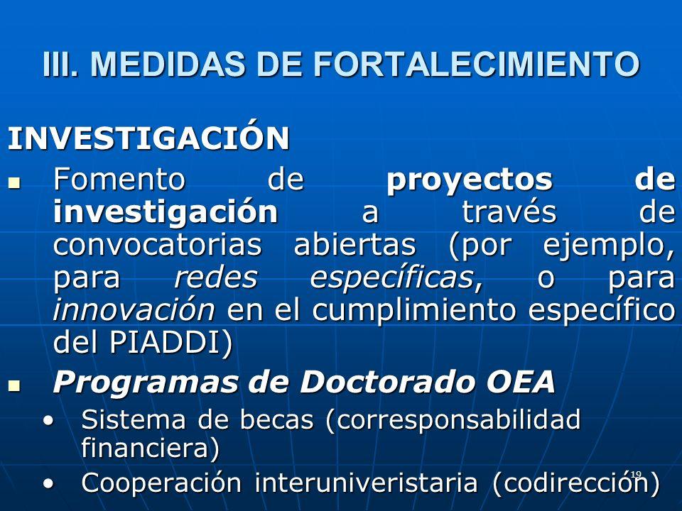 19 III. MEDIDAS DE FORTALECIMIENTO INVESTIGACIÓN Fomento de proyectos de investigación a través de convocatorias abiertas (por ejemplo, para redes esp