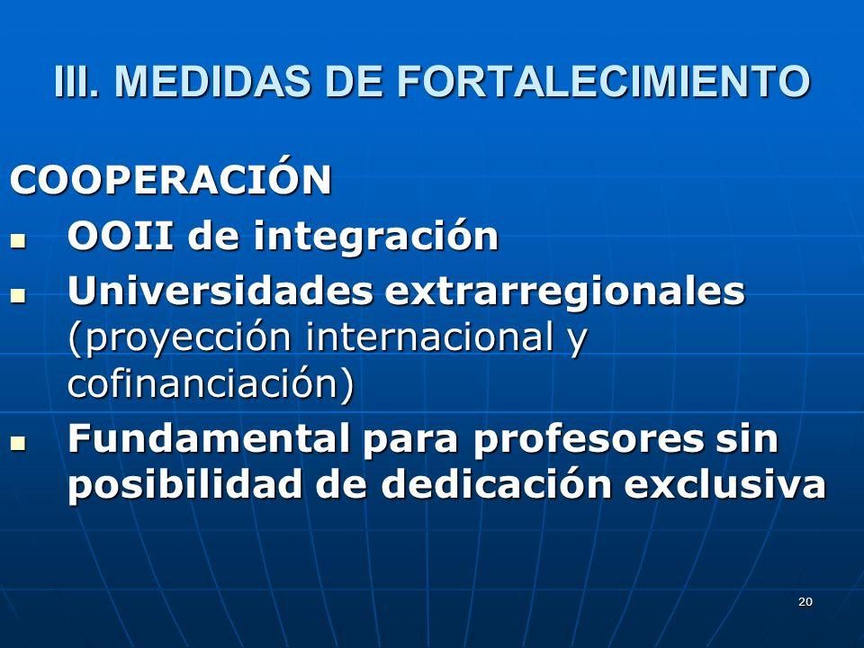 20 III. MEDIDAS DE FORTALECIMIENTO COOPERACIÓN OOII de integración OOII de integración Universidades extrarregionales (proyección internacional y cofi