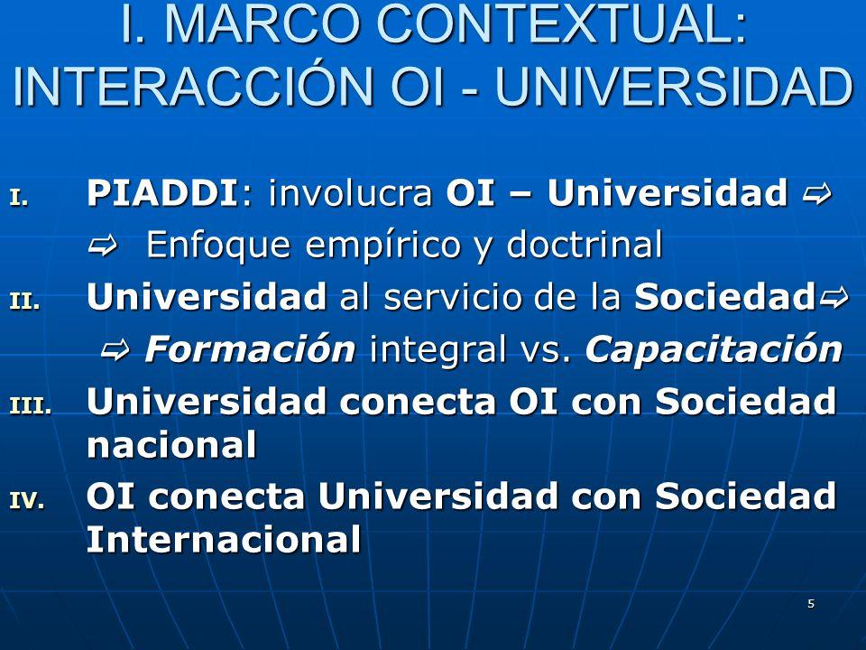 5 I. PIADDI: involucra OI – Universidad I. PIADDI: involucra OI – Universidad Enfoque empírico y doctrinal Enfoque empírico y doctrinal II. Universida