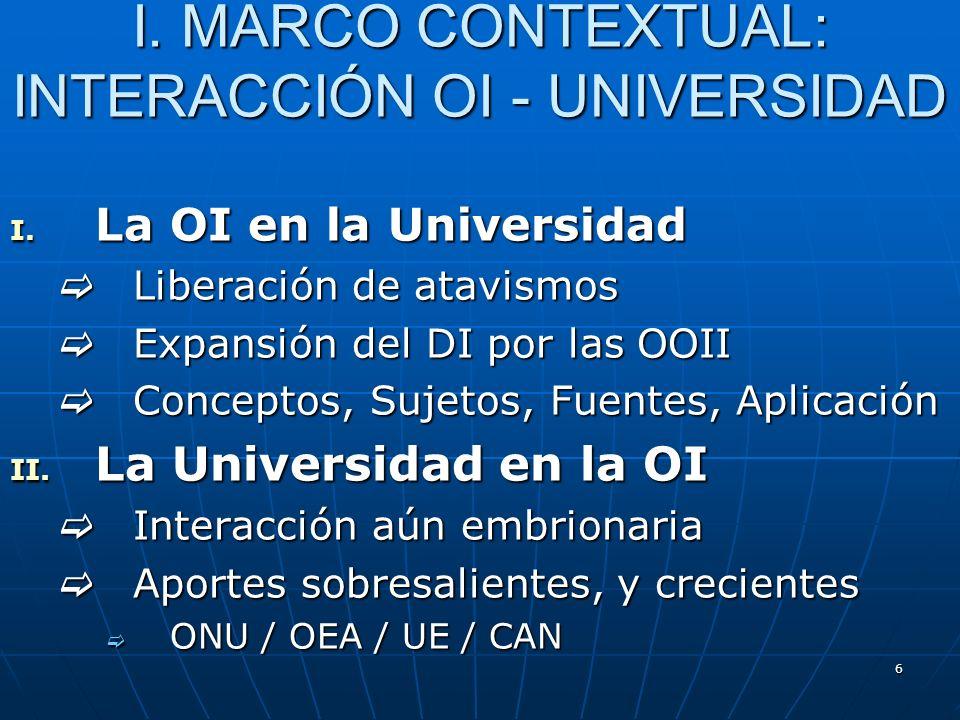 6 I. MARCO CONTEXTUAL: INTERACCIÓN OI - UNIVERSIDAD I. La OI en la Universidad Liberación de atavismos Liberación de atavismos Expansión del DI por la