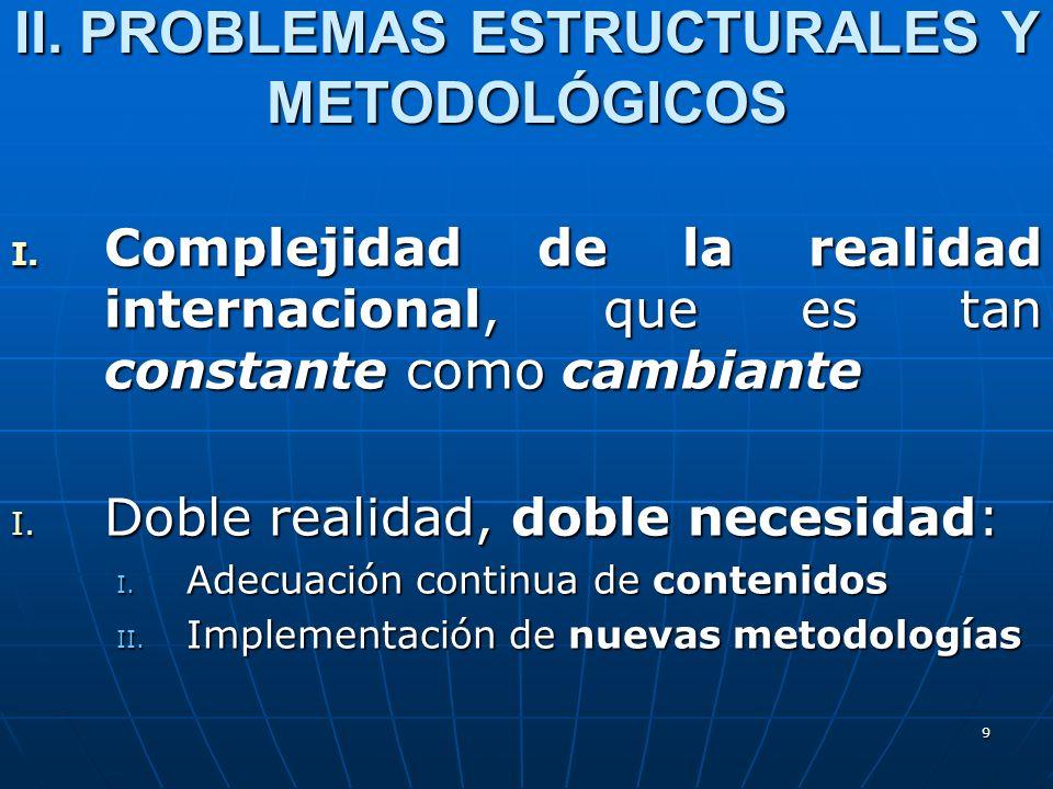 9 I. Complejidad de la realidad internacional, que es tan constante como cambiante I. Doble realidad, doble necesidad: I. Adecuación continua de conte